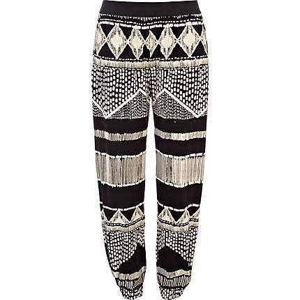 River Island - Black and white aztec print jogger trousers - cropped trousers / joggers - trousers - women