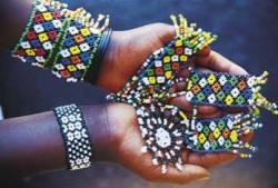Zulu beadwork is not just decorative: the intricate patterns and colours tell a story and indicate the wearer's status.