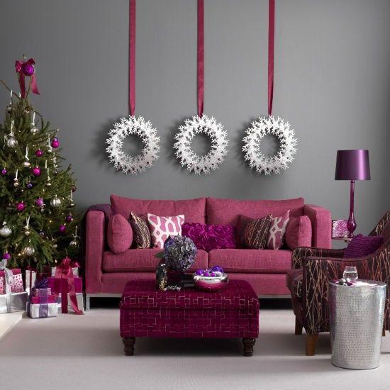 Smart raspberry and grey Christmas living room | Christmas living room decorating ideas - 10 best | housetohome.co.uk