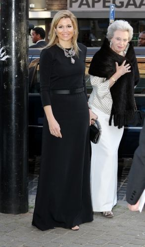 Queen Maxima of Netherlands, with Princess Benedikte of Denmark in the background.