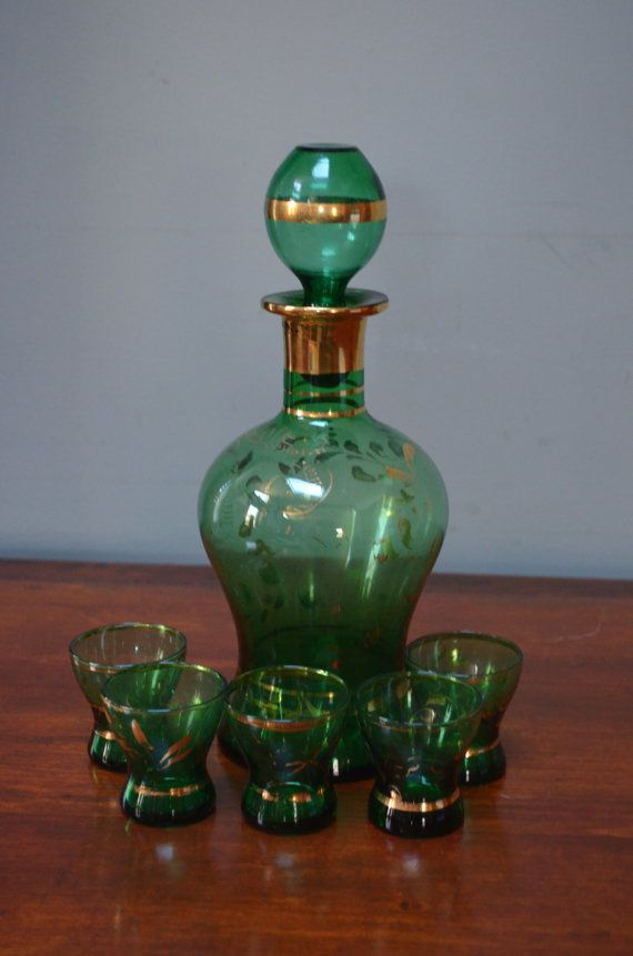 ✿ bluefolkhome on etsy ✿ Decanter 6 Shot Glasses Hand Blown Midcentury Italian Green Glass by bluefolkhome