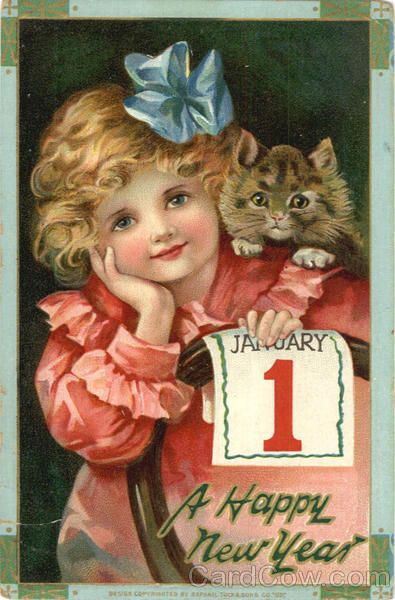 Vintage New Year Post Card - so sweet! And totally fitting with the Ruche asthetic.