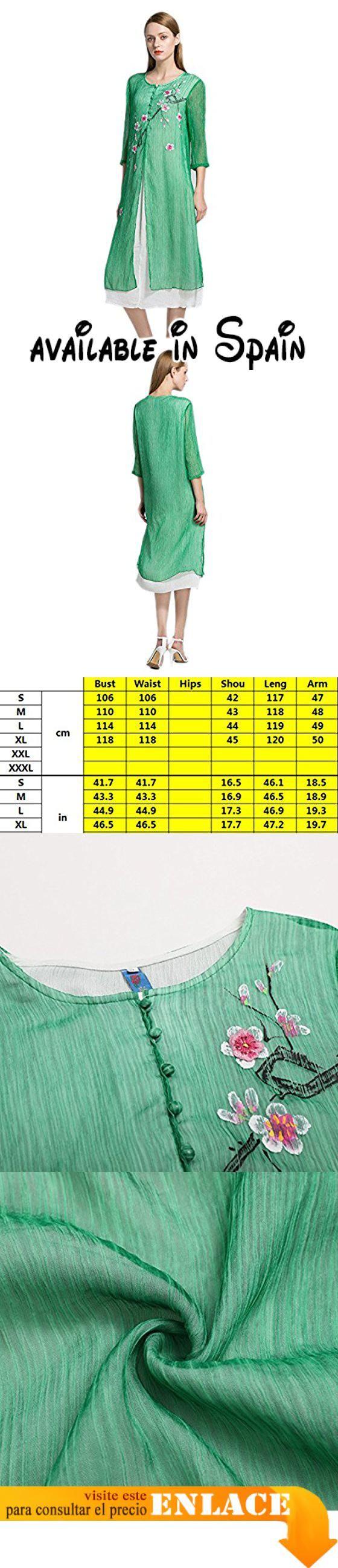 B072ZXF8CB : HGDR Primavera Verano Mujeres Del Otoño Vestido Suelto 3/4 Manga Larga Con Cuello Redondo Maxi Bordado De Gasa De La ModaGreen-S. Material: 65% poliéster 35% spandex piel efecto que tienen buena higroscopicidad y transpirable cómodo usar. Ronda de pico holgada del estilo la libertad sin restricciones harán disfrutar el verano. Es traje Casual diario banquete boda Cóctel casual diario fiesta de Navidad Vestido de noche de primavera y verano