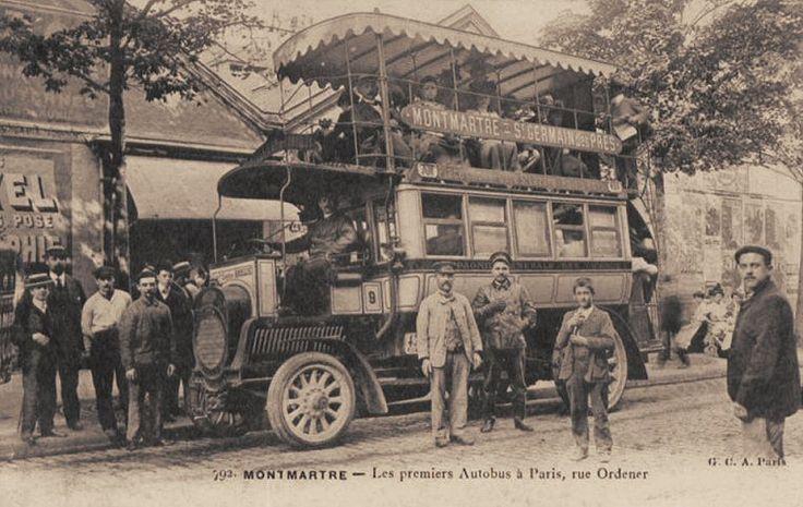 """Un des """"premiers autobus à Paris"""", rue Ordener. On descendra de Montmartre vers Saint-Germain-des-Prés... (vieille carte postale)"""