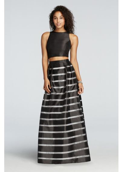 Two Piece Prom Crop Top with Striped Satin Skirt XS7227D