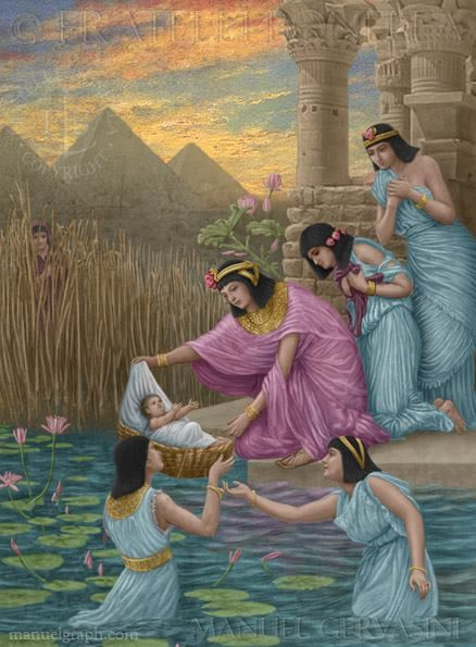 Moses saved from the water - art by Manuel Gervasini