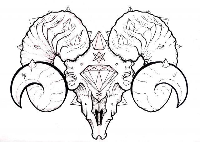 Cráneo de carnero con incrustaciones de diamantes hecho en tiralinea
