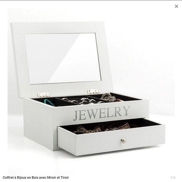 coffret bijoux en bois avec miroir et tiroir cadeaux. Black Bedroom Furniture Sets. Home Design Ideas