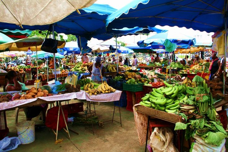 I think what I am looking forward to most is tasting REAL fruit! Fruit that was picked when it is actually ripe that has not been genetically altered! So So So excited!! Fruit, vegetable and spice market of Pointe-a-Pitre, Guadeloupe. I am also excited to purchase spices there!