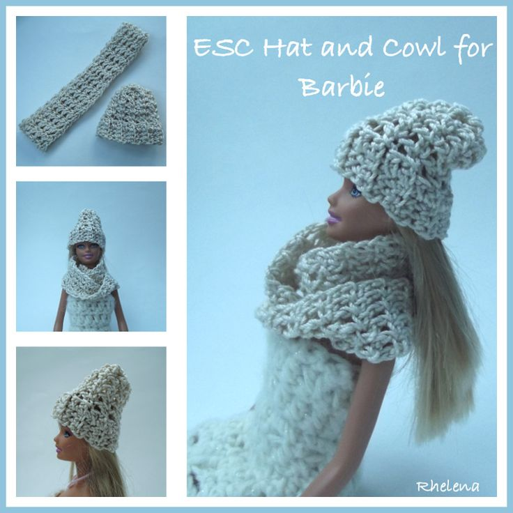 ESC Hat and Cowl for Barbie - FREE crochet pattern from ...