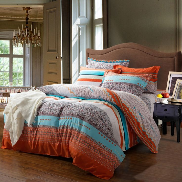 romantic orange bedding | ... Orange and White Contemporary Cute Style Romantic Warm Stripe Bedding,could be used as a transitional southwestern decor... Cherie