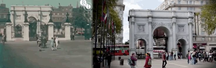 Marble Arch is pedestrianized, but looks the much the same. | Stunning Footage Shows London In The '20s Versus London Now