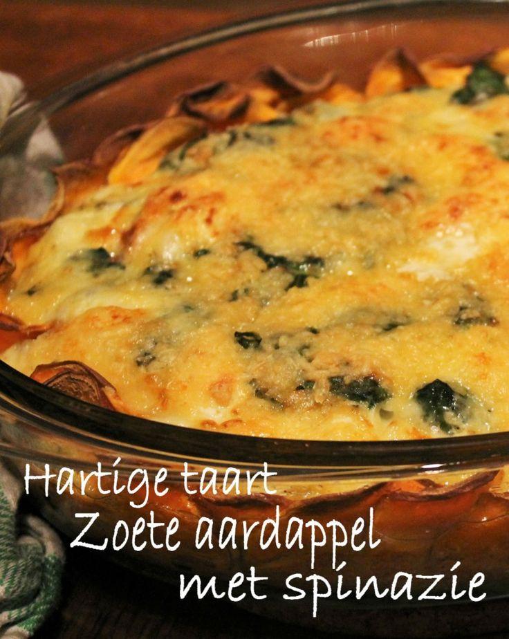Hartige taart: met een korst van zoete aardappel ipv bladerdeeg! lekker met spinazie, geitenkaas en knoflook   It's a Food Life