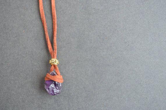 Raw Amethyst Necklace Suede Leather Crystal by IndigoLizard