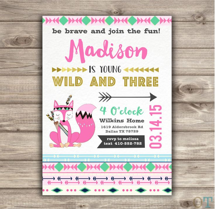A personal favorite from my Etsy shop https://www.etsy.com/ca/listing/266781311/wild-and-three-birthday-invitations-pink