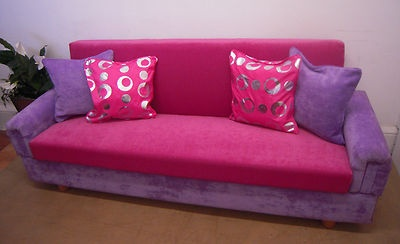 Hot Pink Purple Sofa Bed 204cm Girls Bedroom Storage Click Clack Storage Ready Cheap Sofabeds