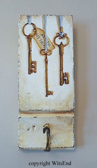 """KEY TO MY HEART'. Antique Keys painting original ooak wall hook on antique plinth architectural piece, by 4WitsEnd on Etsy, SOLD"
