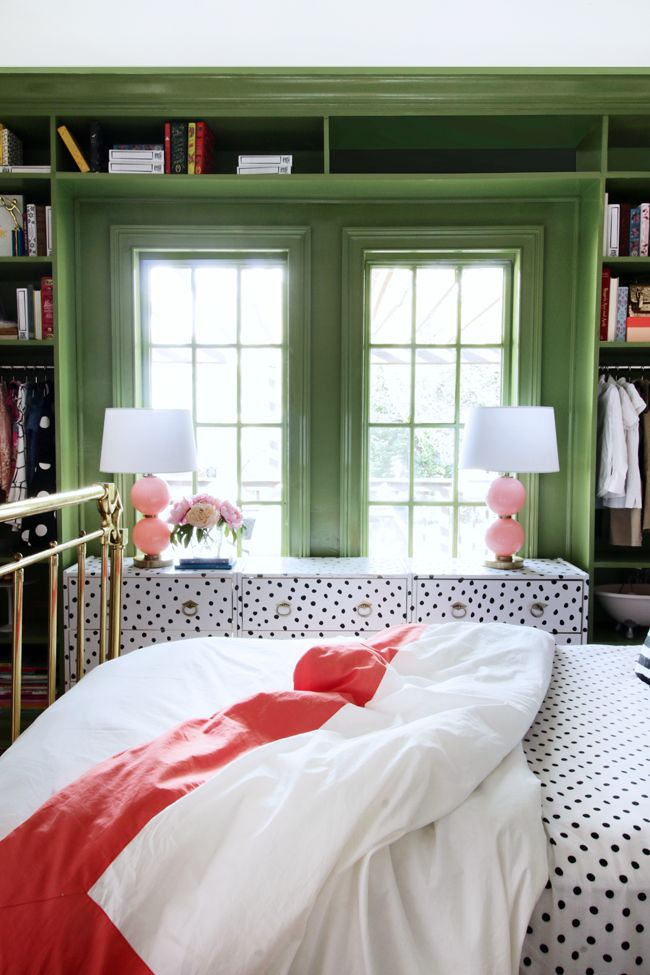 Pink and green bedroom with polka dots, inspired by Kate Spade