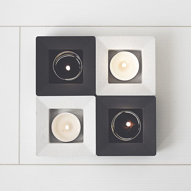 Universe black or heaven white concrete candle holder collection, Regulus - by Remember the Lion