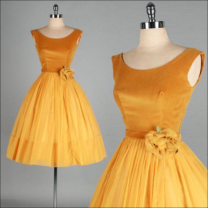Vintage 1950s Dress . Gold Velvet . Chiffon . Full Skirt . XS/S . 2421. $175.00, via Etsy.