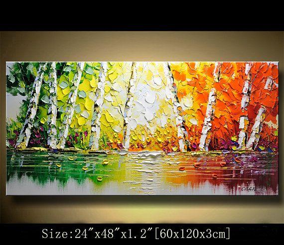 árbol colorido de pared contemporánea arte, pintura de la espátula, la pintura, la pared decoración Home Decor, acrílico con textura pintura sobre lienzo por Chen 0325