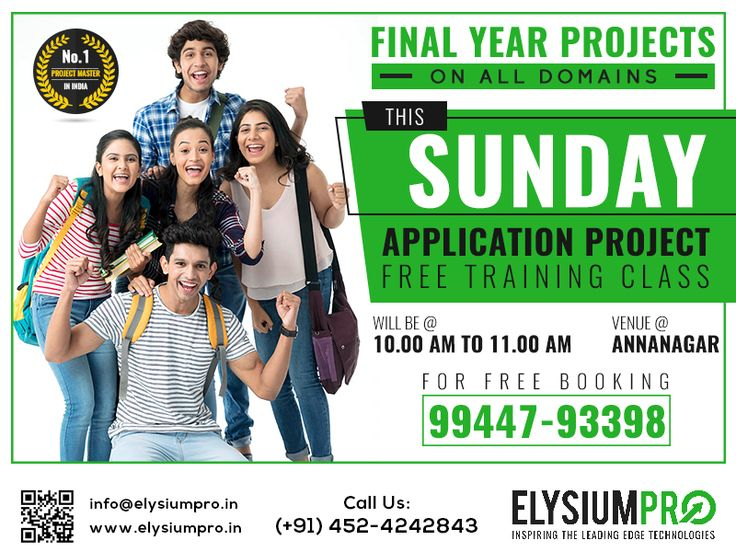 #ElysiumPro #ApplicationProject #ProjectCenter #FinalYearProject Make your Sunday Valuable ! Free project Training on Application Projects @Elysiumpro