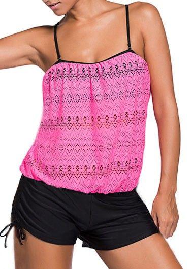 Fuchsia Pink Crochet Blouson Tankini Top With Black Boyshorts Swim Bottom
