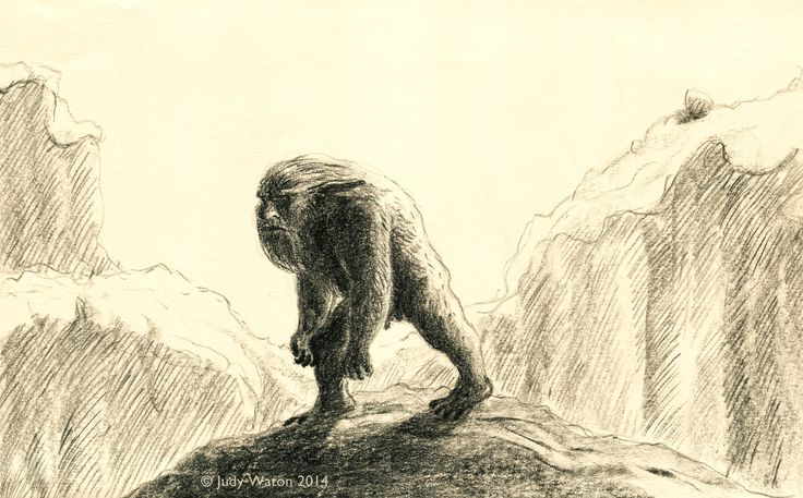 week 49 - sunshine. Troll caught by the rising sun. pencil on litho paper
