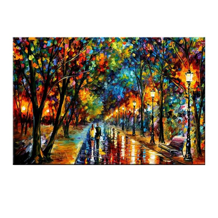 Cheap painting chalk, Buy Quality painting from picture directly from China painting picture frame Suppliers: 		100%Handmade Modern Palette Knife Park Street Oil Painting On Canvas Art Pictures For Room Decor Wall Oil Paintings No