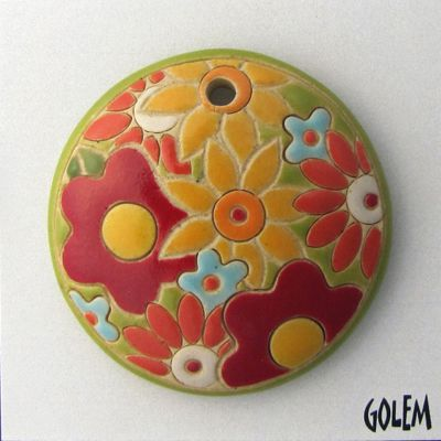 round pendant with flowers