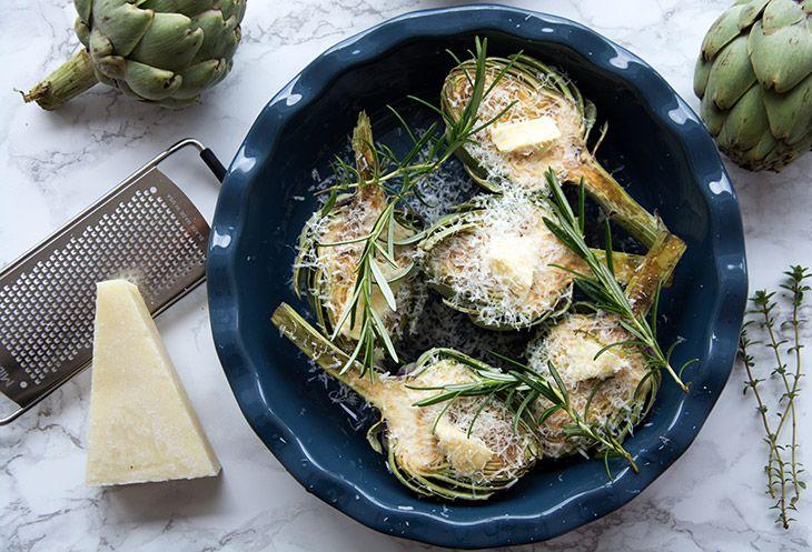 Gratinerede artiskokker opskrift med parmesan og rosmarin