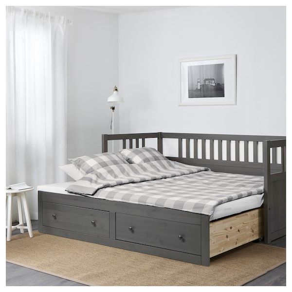 Ikea Hemnes Dark Gray Stained Daybed Frame With Storage In