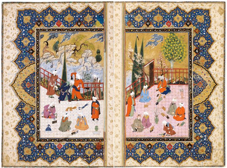 """Double frontispiece to an unknown script. """"A group of scholars on a terrace"""" Iran, Isfahan, approx. 1600  Each sheet: 42 × 28.5 cm  http://www.davidmus.dk/samlingerne/islamisk/materialer/miniature/kunst/18-1970_og_29-1962"""