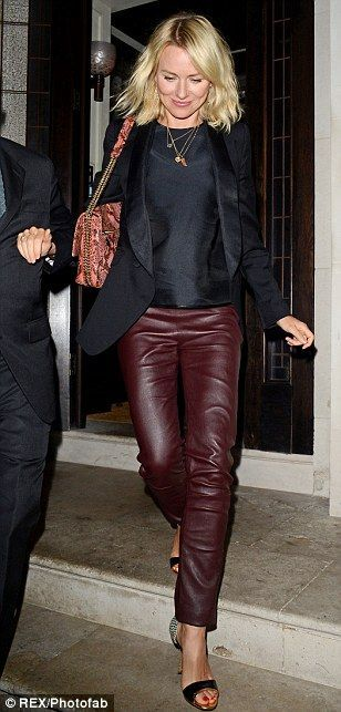Ok so I don't have these (or any kind of) leather trousers, but the burgundy trouser looks good with black blazer and top