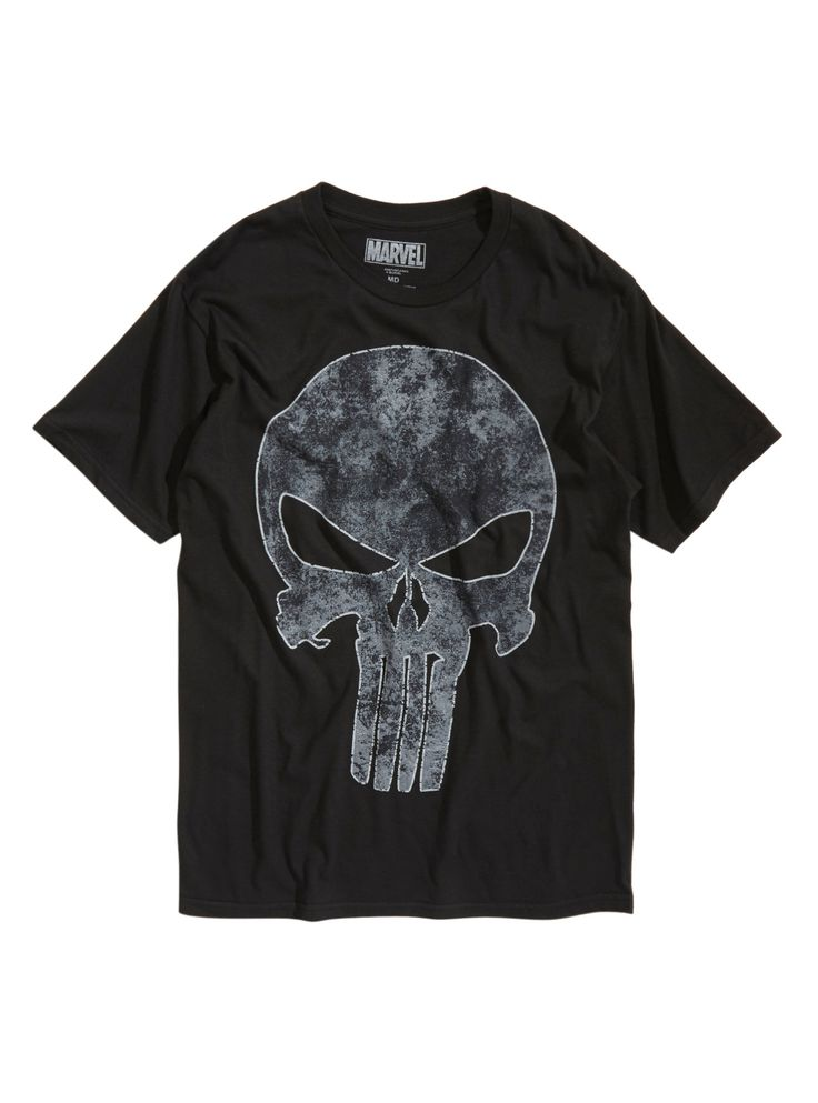 <p>Show 'em you mean business in this black T-shirt from Marvel with a large <i>Punisher</i> skull logo design on front.</p>    <ul>  	<li>100% cotton</li>  	<li>Wash cold; dry low</li>  	<li>Imported</li>  	<li>Listed in men's sizes</li>  </ul>