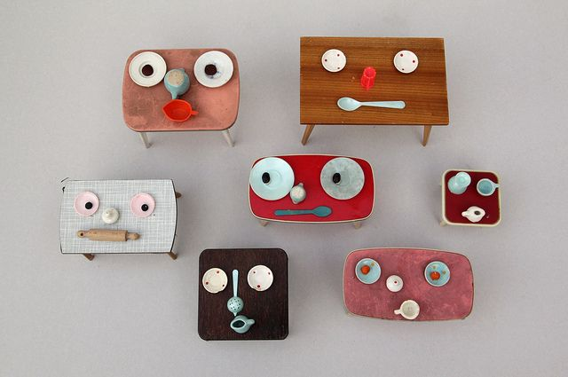 faces: Dollhouses Furniture, Kids Stuff, Tables Babes, Sabine Timm, Teeny Tiny, Design, German Artists, Tables Faces, Artists Sabine