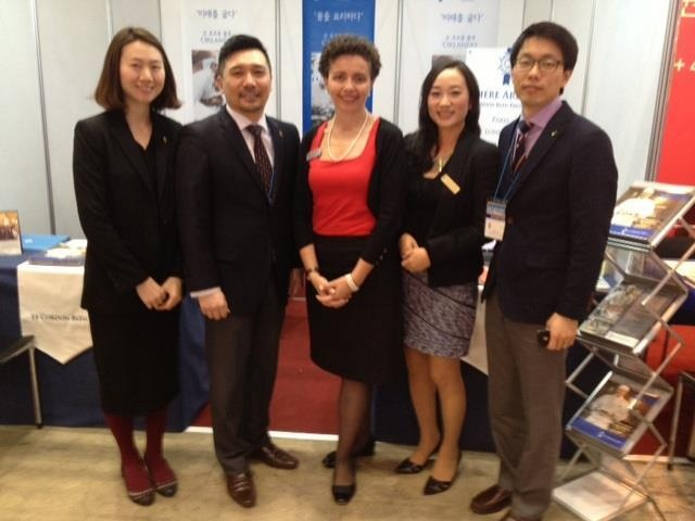 LCBNZ Sam Heeney (centre) in Seoul at the Study Abroad Fair with Le Cordon Bleu colleagues Yoojin, Young, Christina and Imkook.
