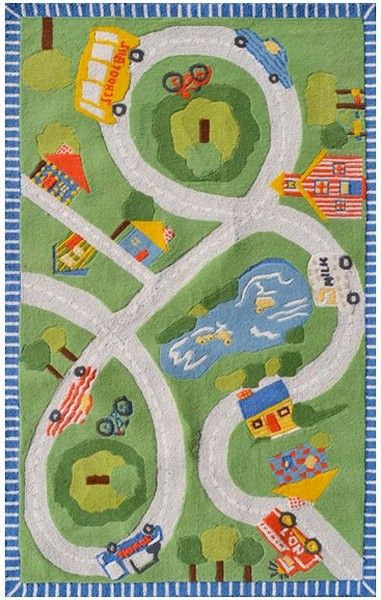 Rug Market Kids Playful Boy 16487 Road Trip Green/Red/Yellow Area Rug