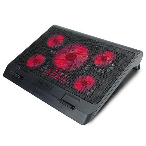 ENHANCE GX-C1 Support Refroidisseur PC Portable (40 x 32.4 cm) – 5 Ventilateurs avec LED rouges & 2 ports USB pour transfert de fichiers –…
