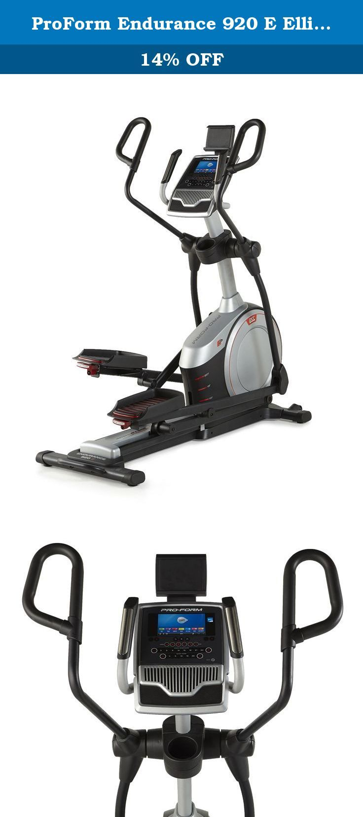 ProForm Endurance 920 E Elliptical. Mix up your workout with the ProForm endurance 930 E. This commercial-gauge constructed machine is built to take you from beginner to expert with guided workouts designed by professionally certified trainers. Be entertained with a powerful onboard sound system and 7 inch full-color touchscreen display.
