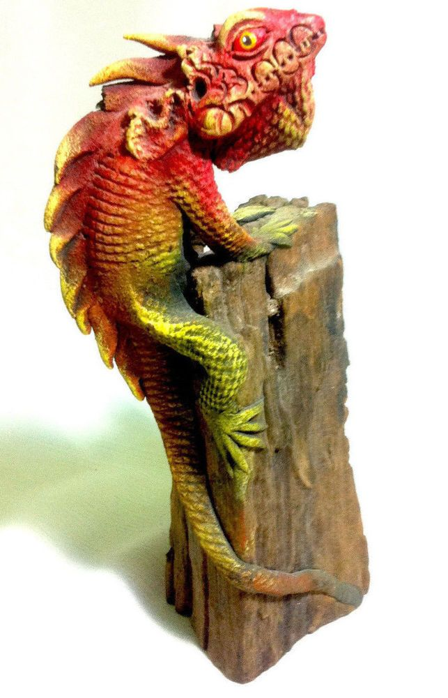 amazing unique carved wooden lizard statue awesome vintage