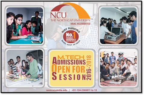 The NorthCap University trains students according to the specific needs of today's industry.  Come, make an informed choice!  Join M.Tech in CSE with specialization in Cyber Security or Data Science, M.Tech in ECE or VLSI Design, Mechanical Engineering with specialization in Thermal Engineering or Mechanical Engineering Design, or Civil Engineering with specialization in Structural Engineering or Construction Engineering & Management Admissions Open for session 2016-2018