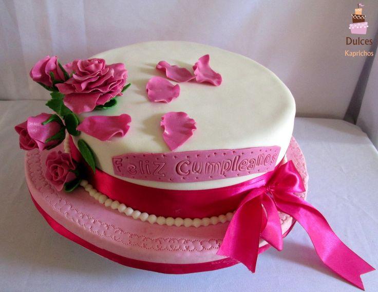Torta de Cumpleaños de Rosas #TortaRosas #TortasDecoradas