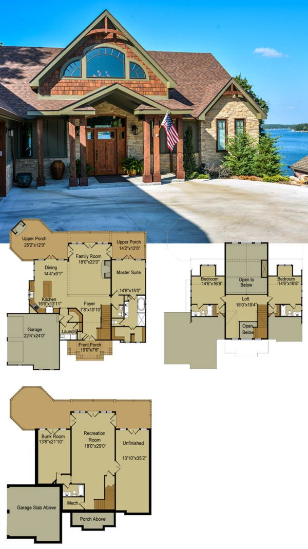 Rustic mountain house floor plan with walkout basement for Lake front house plans
