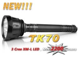$274.95    Fenix TK70 is an exceptionally powerful flashlight which uses 3 CREE XM-L LEDs, powered by 4 large-capacity D batteries and rates at an amazing 2200 lumens brightness, 7 days runtime and 720 meters throwing beam!   The Fenix TK70 is the ultimate portable light source for law enforcement and security officers as well as those who take their flashlights seriously!