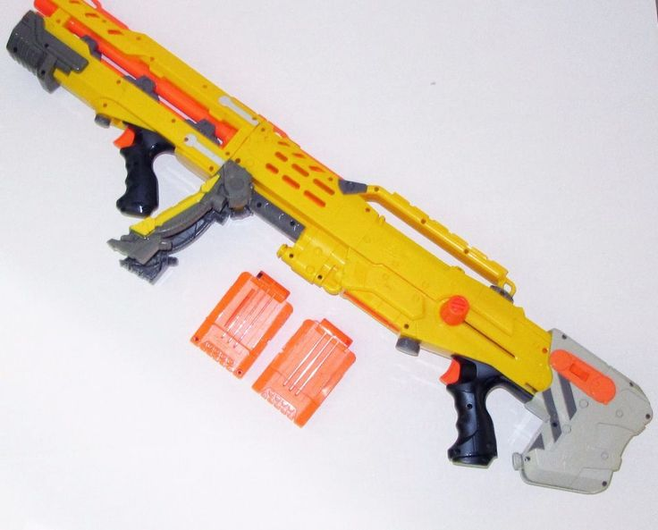 Nerf Longshot Bipod Shoulder Stock Front Blaster Attachment 2 Clips Tested Works #NERF