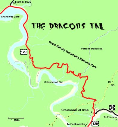 the dragons tail starts in north carolina at the convergence of us129 nc28 and snakes