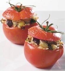 Tomater med ris og aubergine