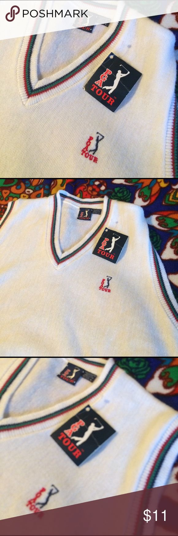 NWT PGA Tour golf sweater vest. Size L. NWT PGA Tour golf sweater vest. Size L.  White with Red, green and black trim. This item is NWT but the tag is old and wrinkly. It has 2 small pulls on front (see pics) and is discounted. PGA Tour Jackets & Coats Vests