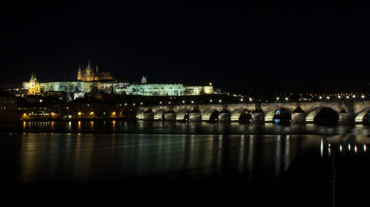 Prague Castle and Charles' Bridge - at night.